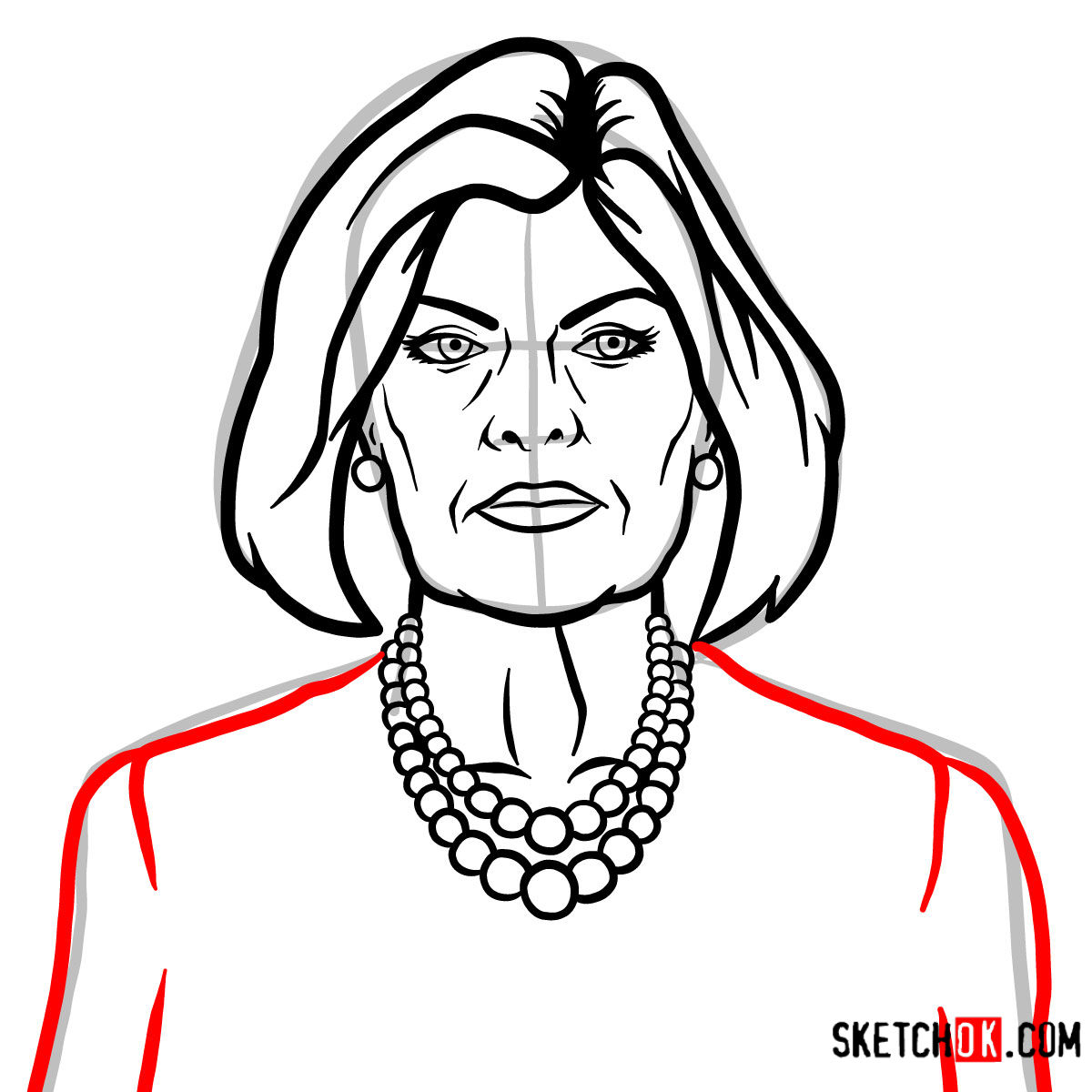 How to draw Malory Archer - step 09
