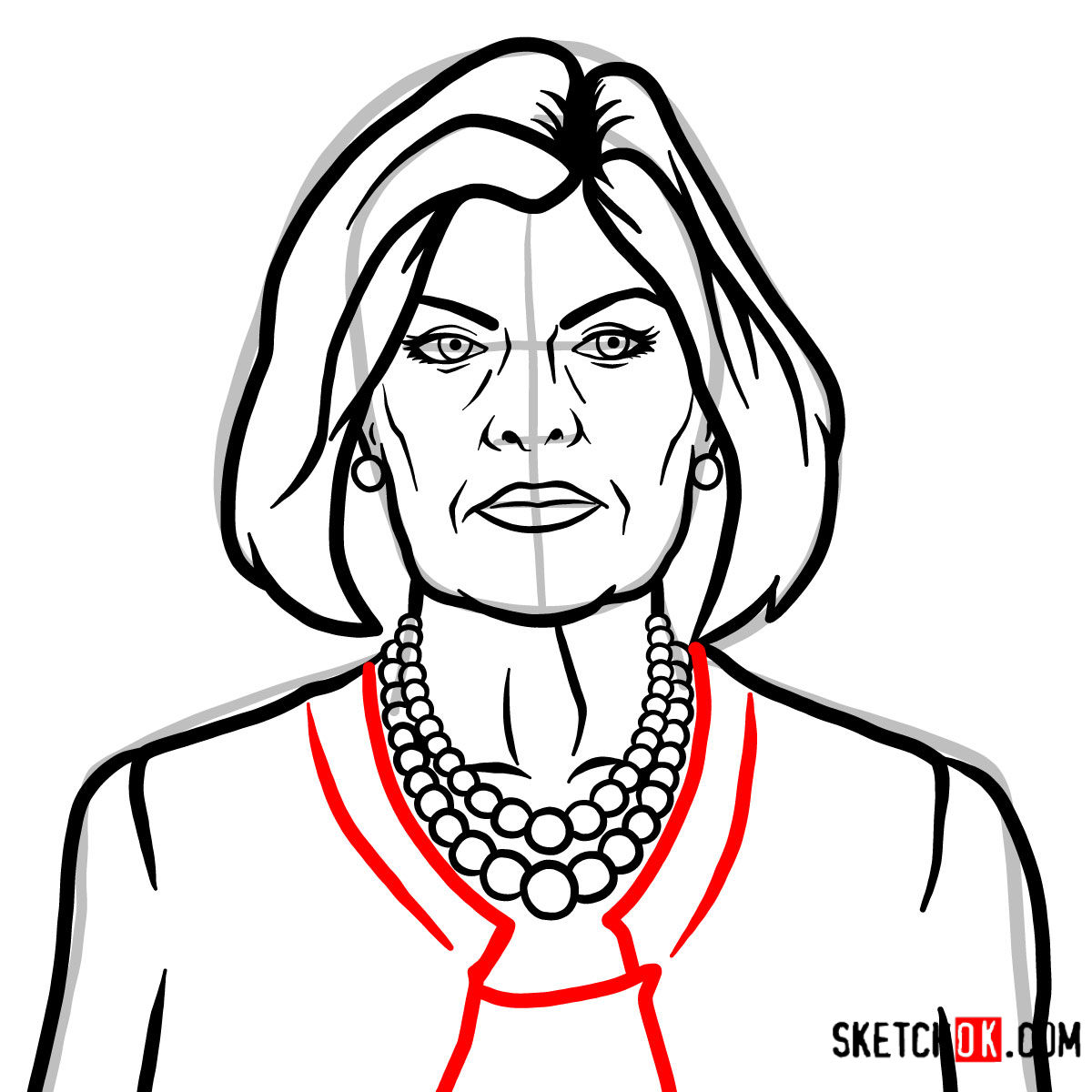 How to draw Malory Archer - step 10