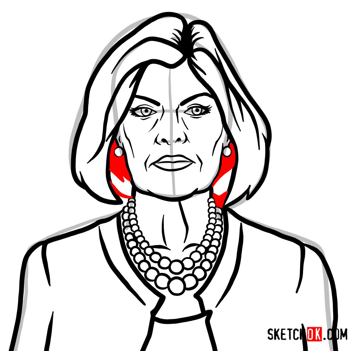 How to draw Malory Archer - step 11