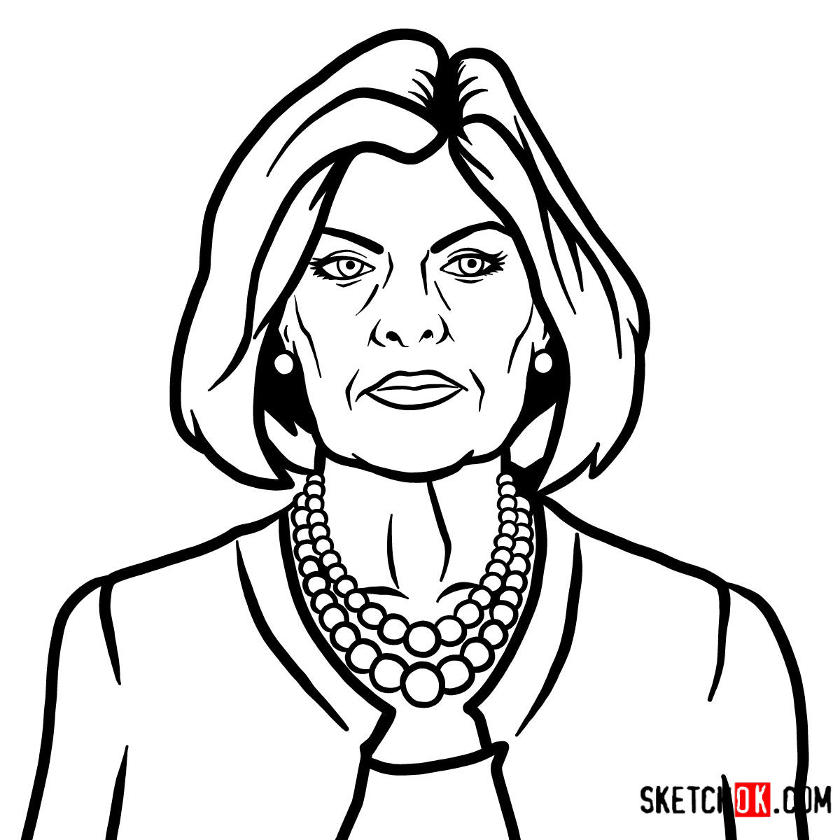 How to draw Malory Archer