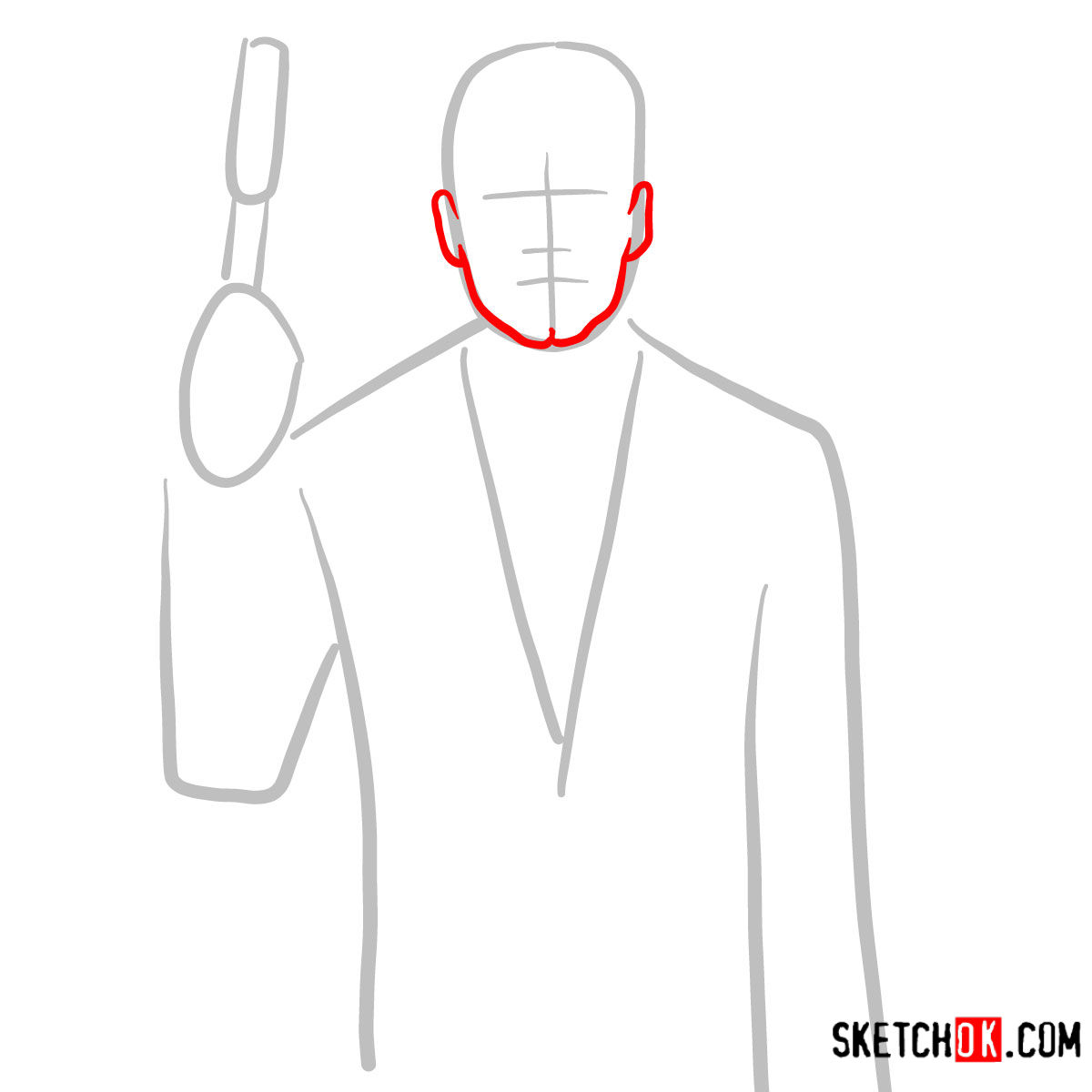 How to draw special agent Archer to the waist - step 02