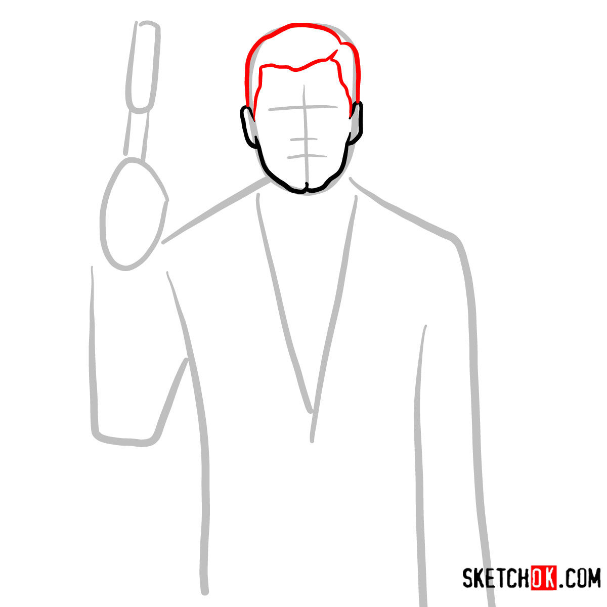 How to draw special agent Archer to the waist - step 03