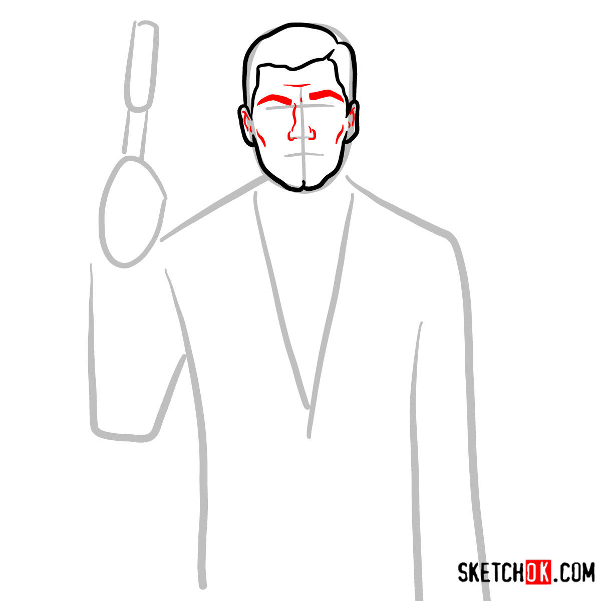How to draw special agent Archer to the waist - step 04