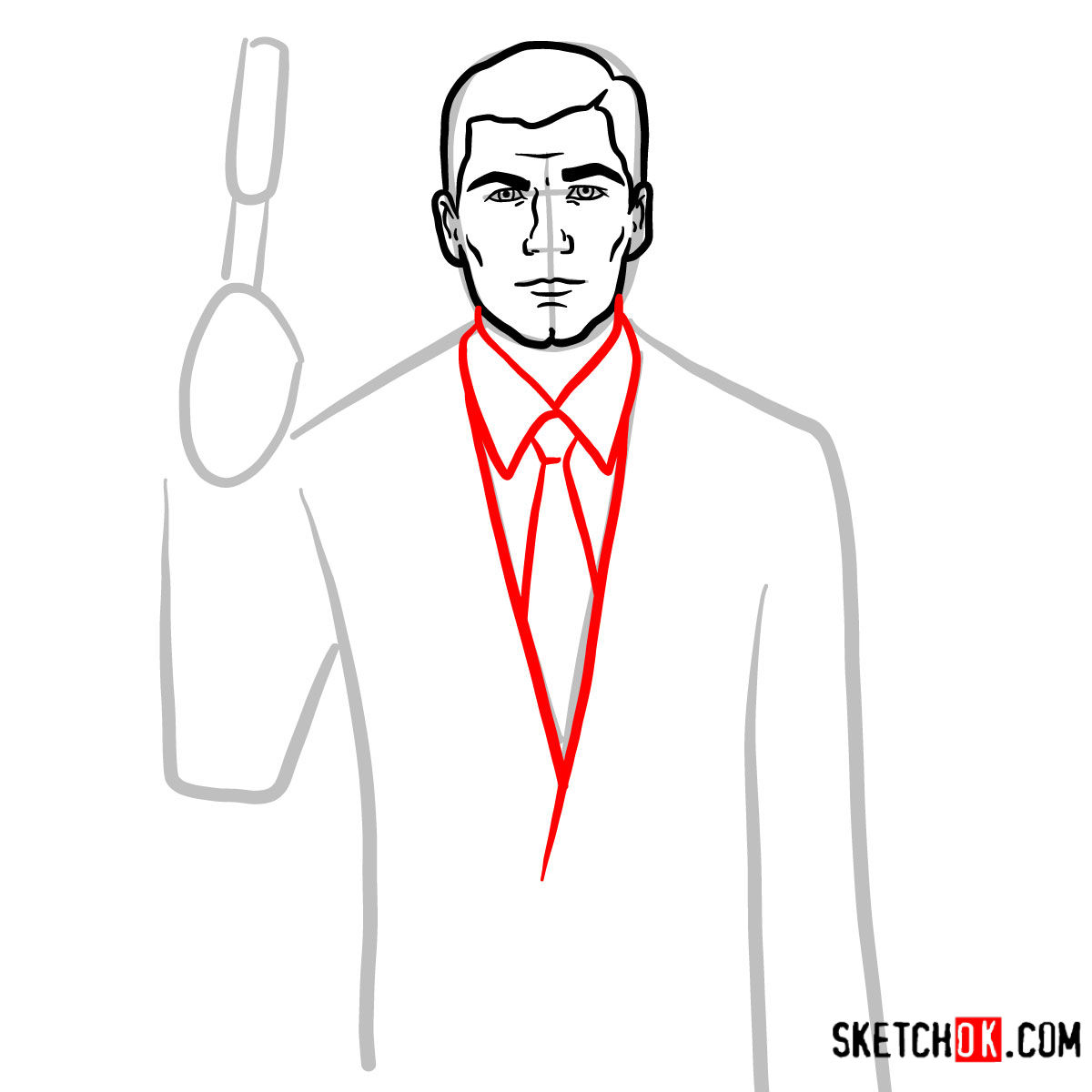 How to draw special agent Archer to the waist -  step 06