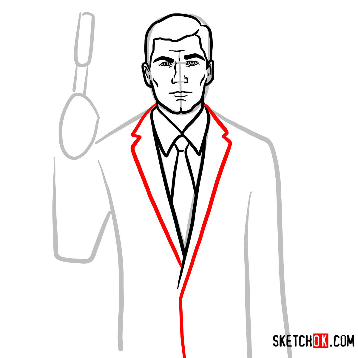 How to draw special agent Archer to the waist - step 07
