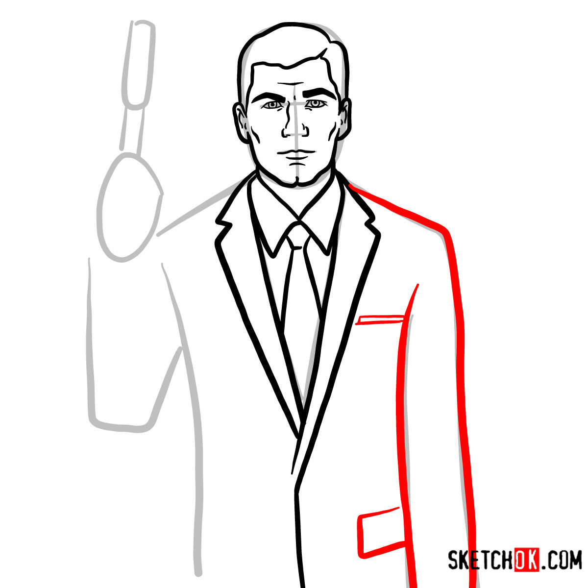 How to draw special agent Archer to the waist - step 08
