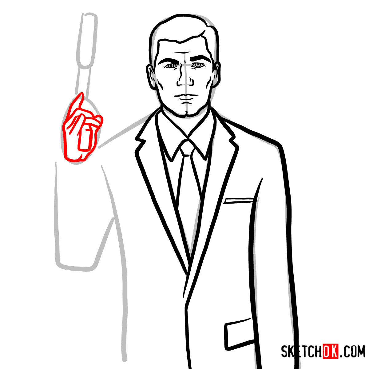 How to draw special agent Archer to the waist - step 09