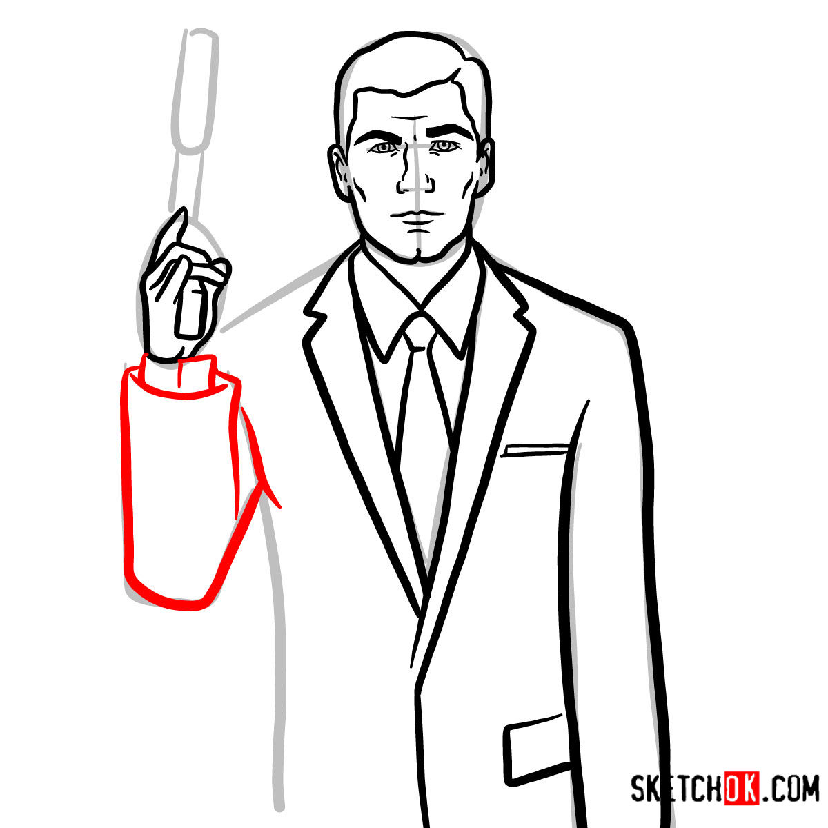 How to draw special agent Archer to the waist - step 10