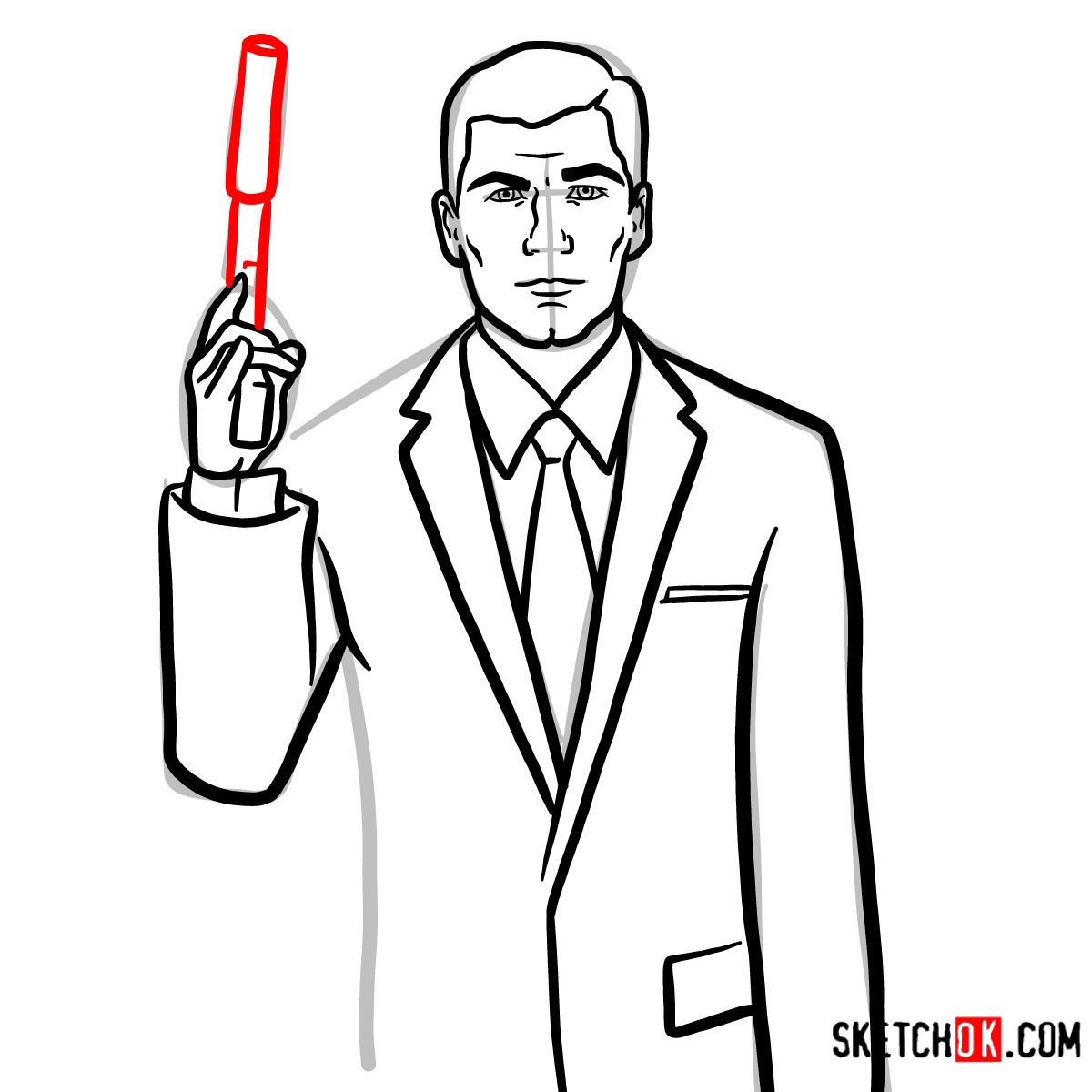 How to draw special agent Archer to the waist - step 11