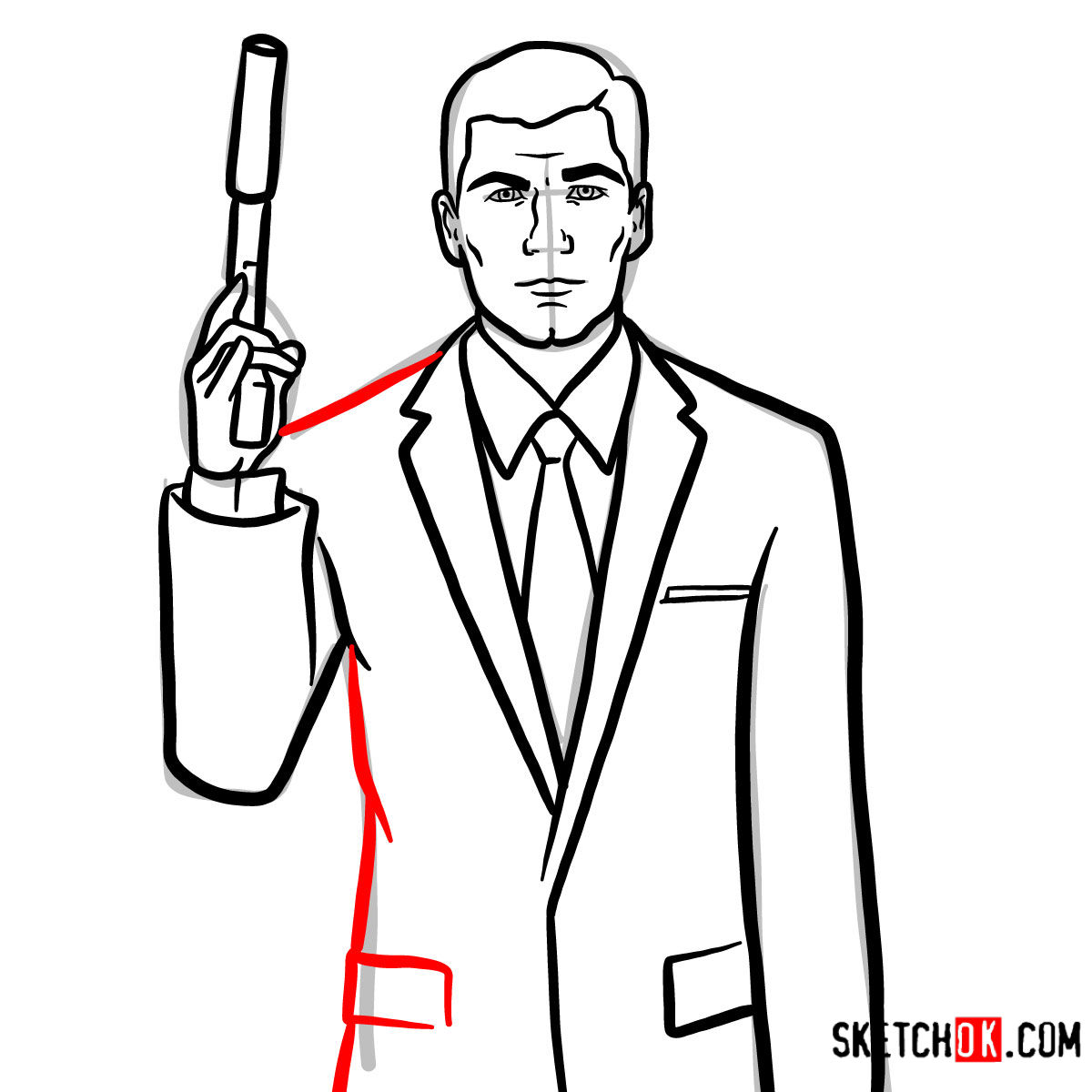 How to draw special agent Archer to the waist - step 12