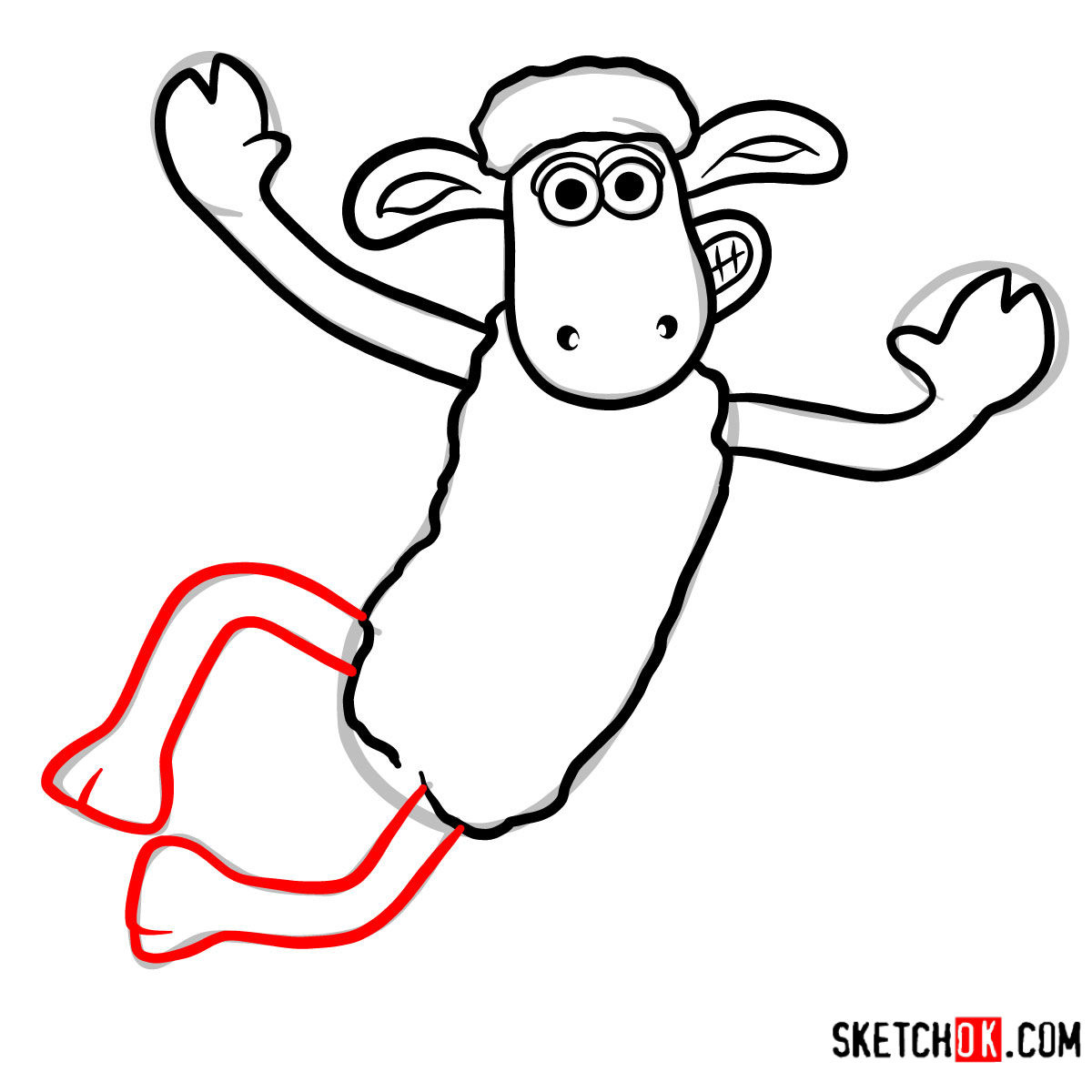 How to draw Shaun the Sheep - step 06