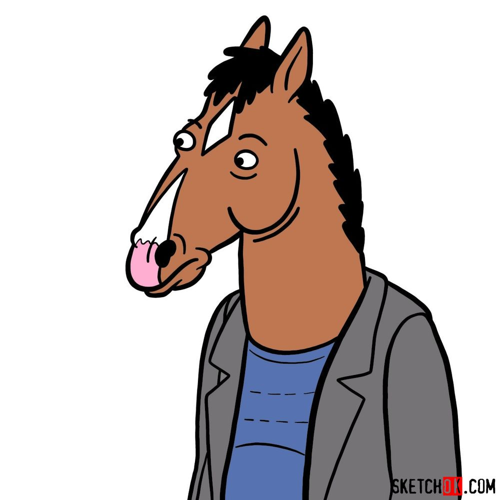 10 steps tutorial how to draw BoJack Horseman