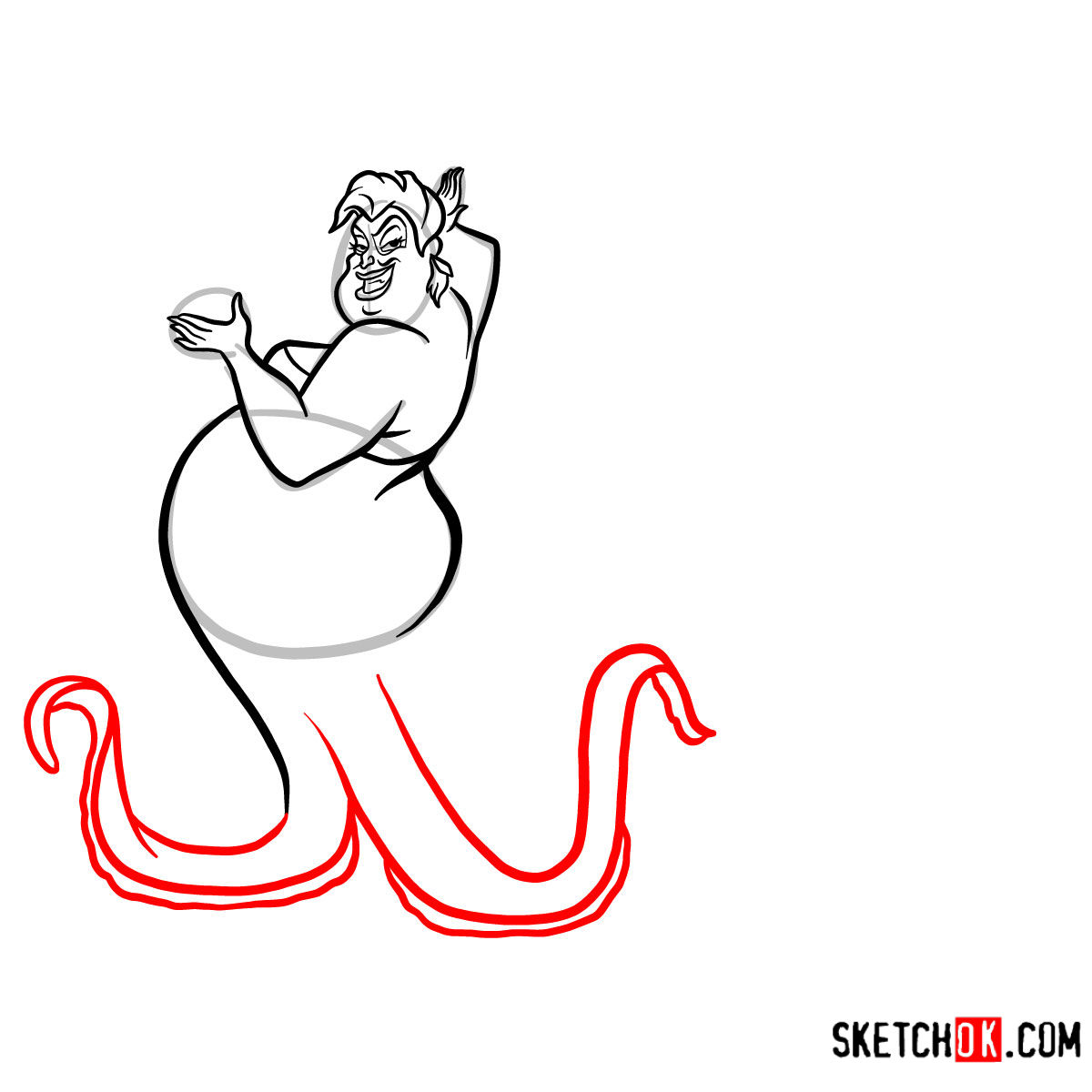 How to draw Ursula | The Little Mermaid - step 08