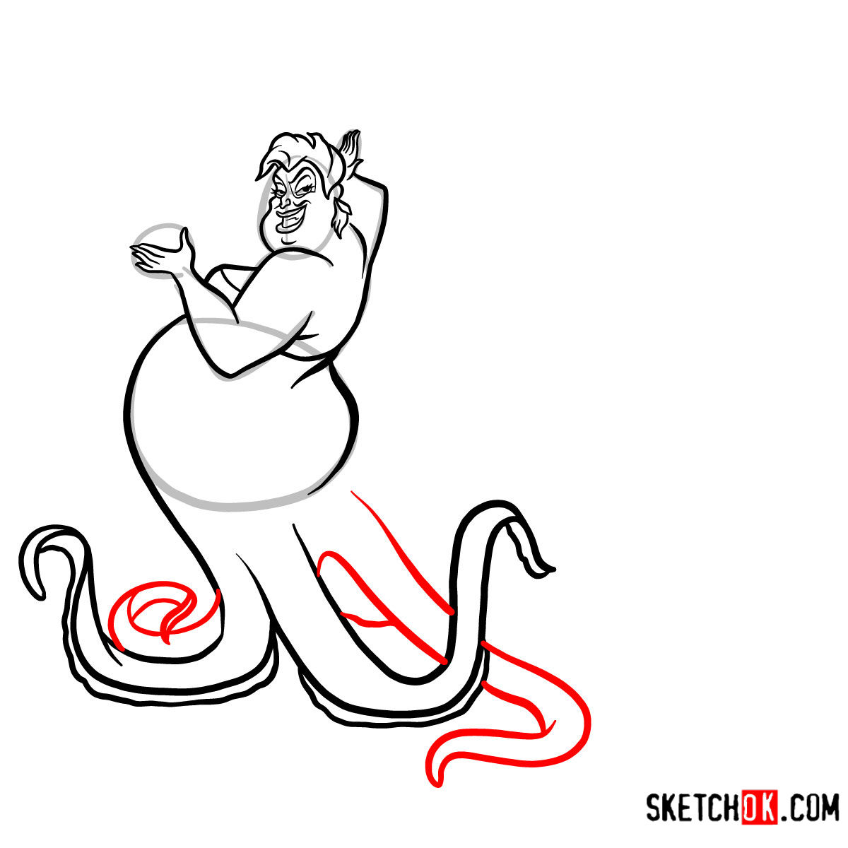 How to draw Ursula | The Little Mermaid - step 09