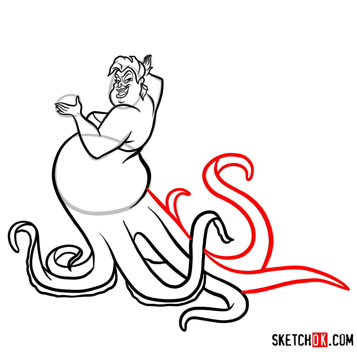 How to draw Ursula | The Little Mermaid - step 10