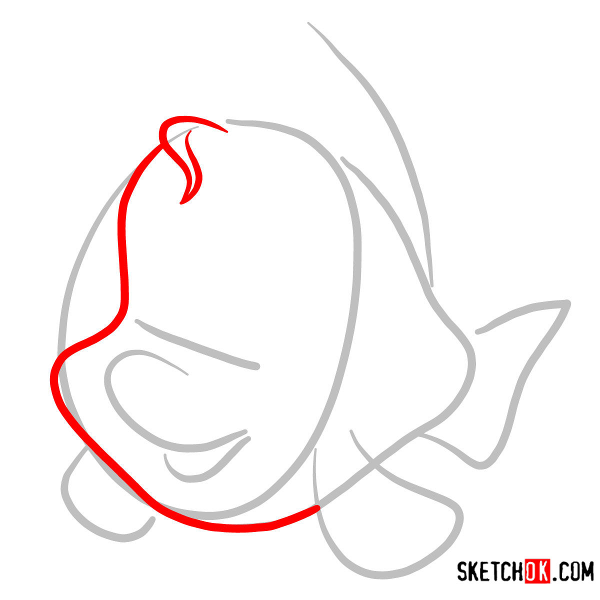 How to draw Flounder   The Little Mermaid - step 02
