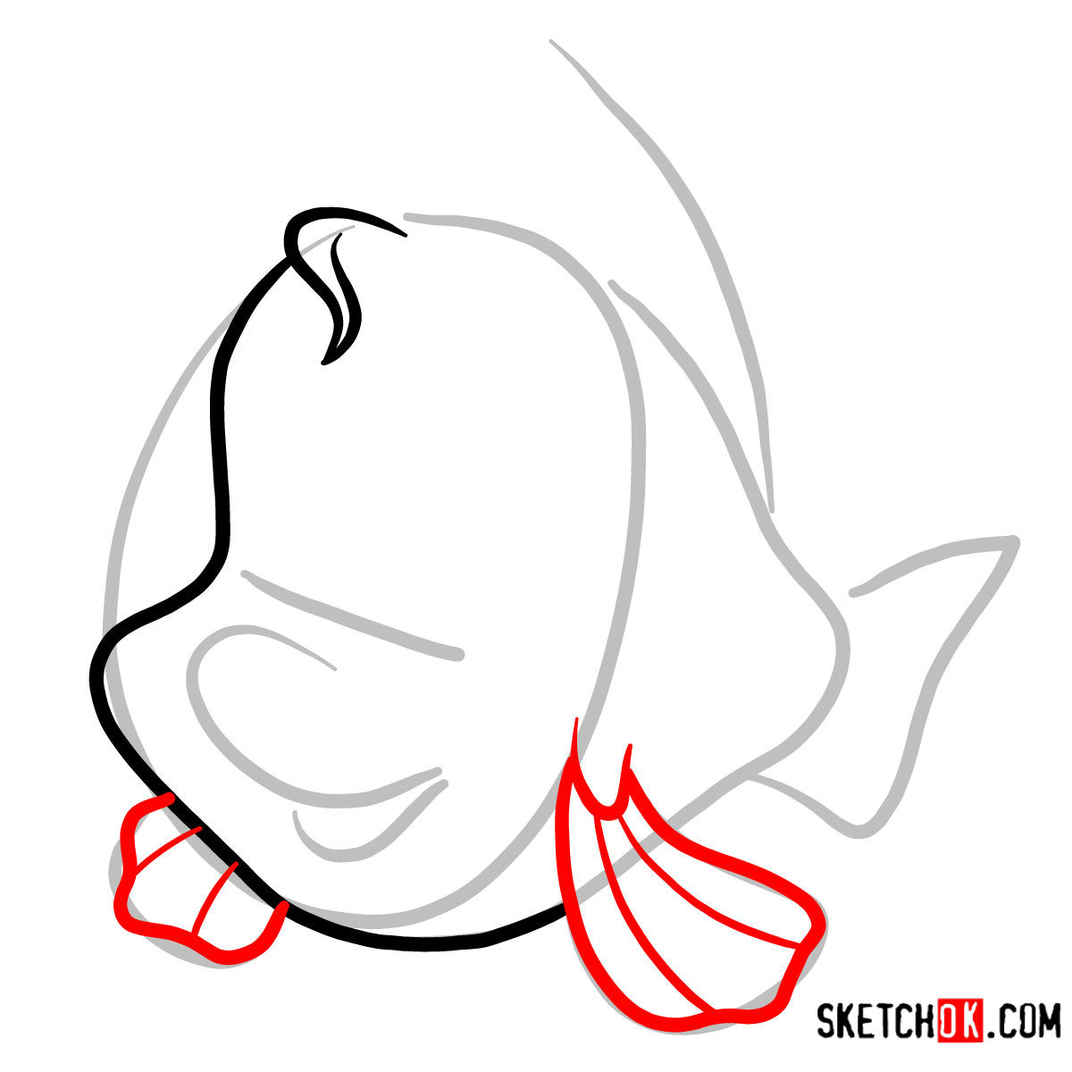 How to draw Flounder   The Little Mermaid - step 03