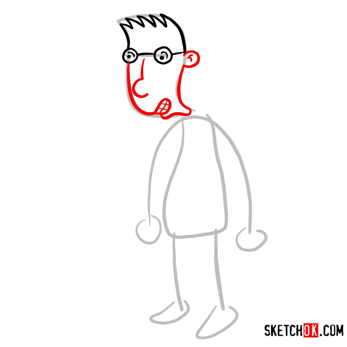How to draw Brainy | Hey Arnold! - step 03