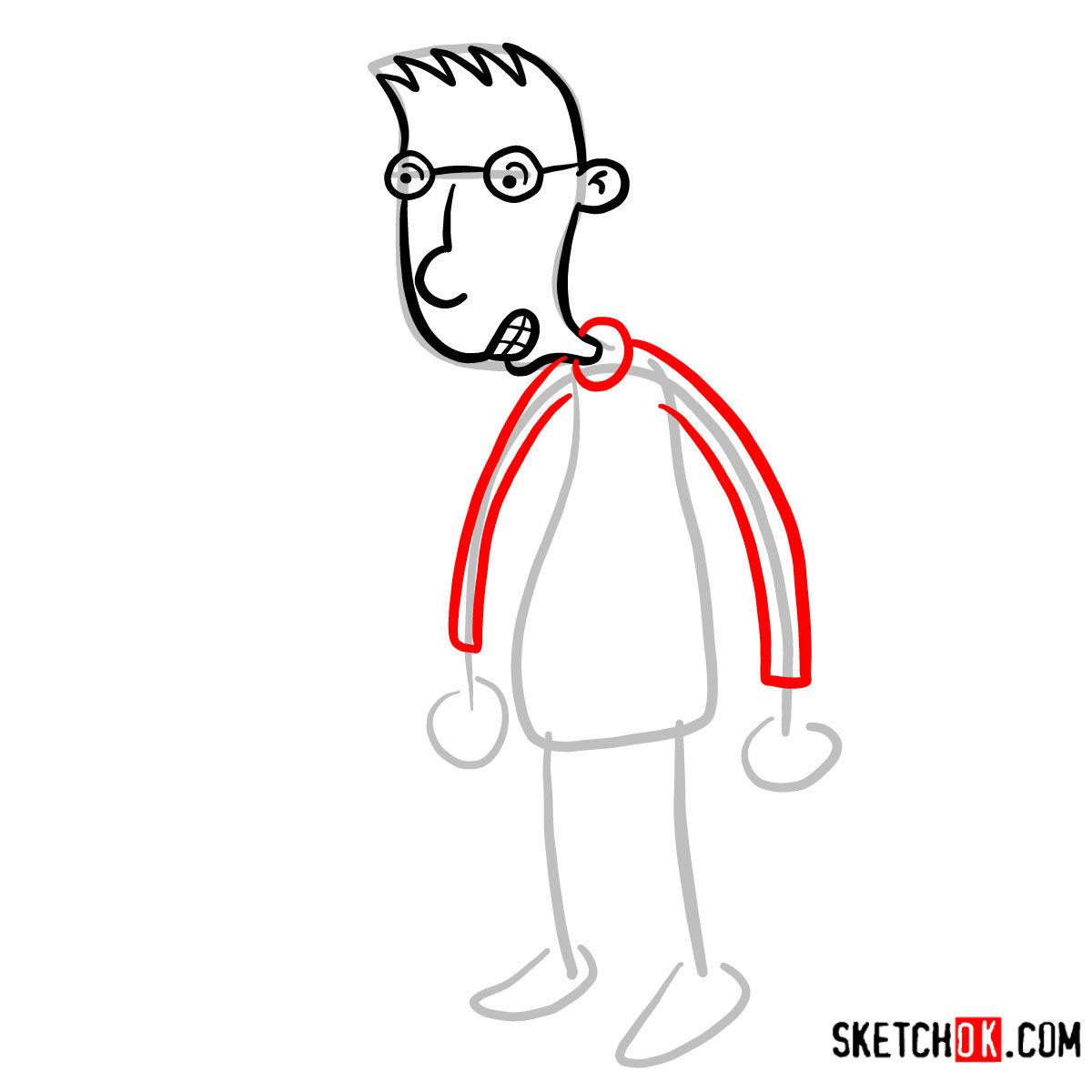How to draw Brainy | Hey Arnold! - step 04
