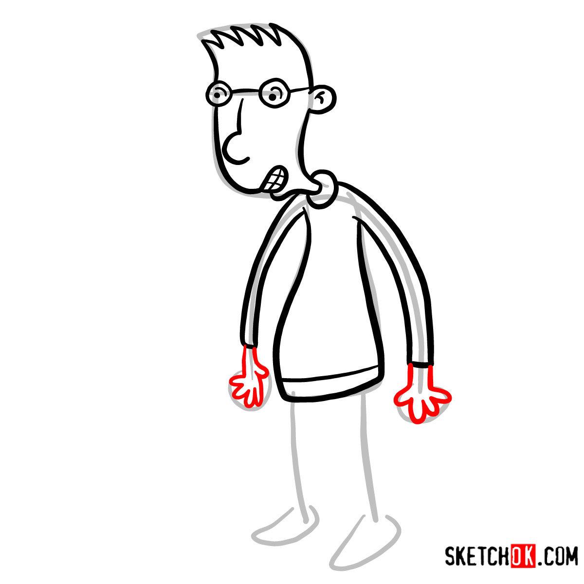How to draw Brainy | Hey Arnold! -  step 06