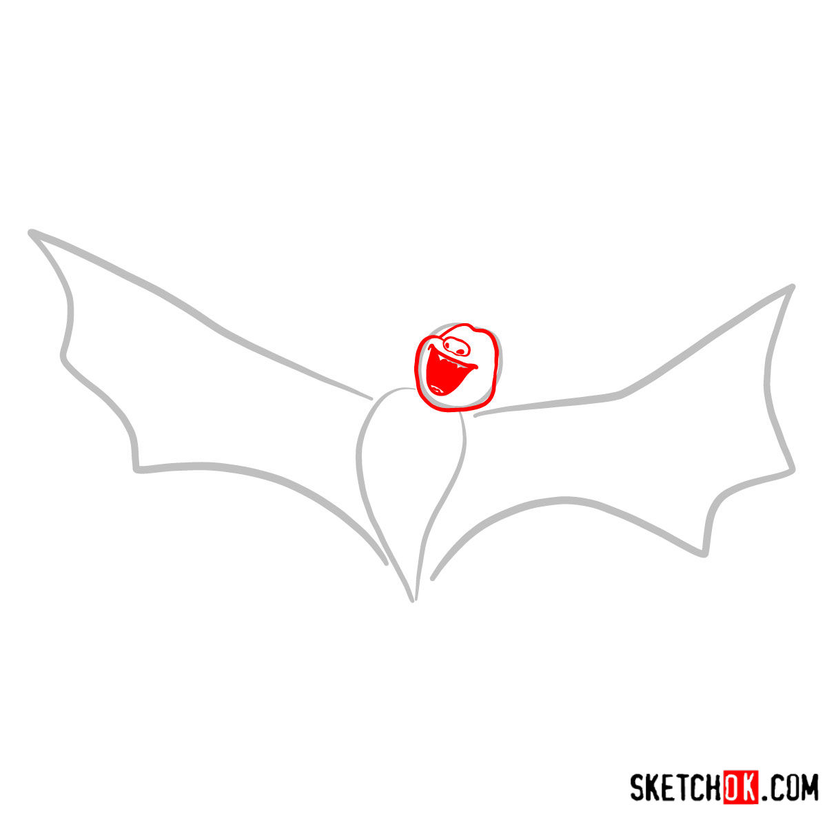 How to draw Bat Dracula | Hotel Transylvania - step 02