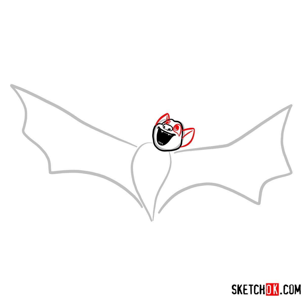 How to draw Bat Dracula | Hotel Transylvania - step 03