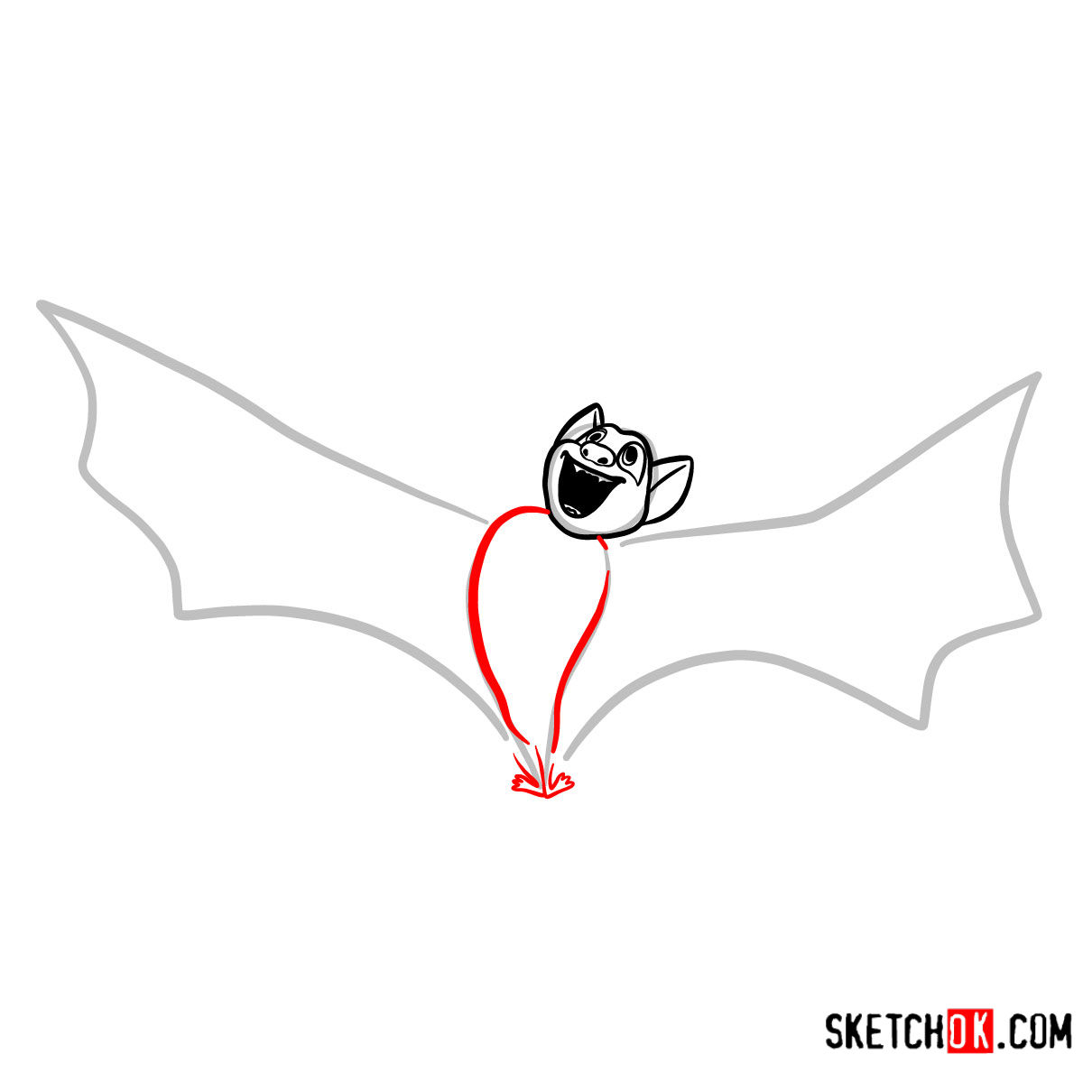 How to draw Bat Dracula | Hotel Transylvania - step 04