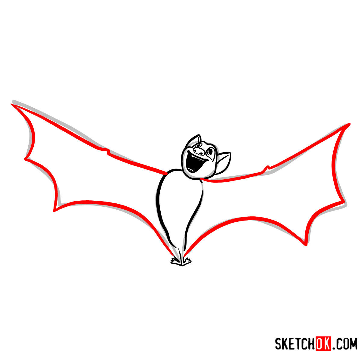 How to draw Bat Dracula | Hotel Transylvania - step 05