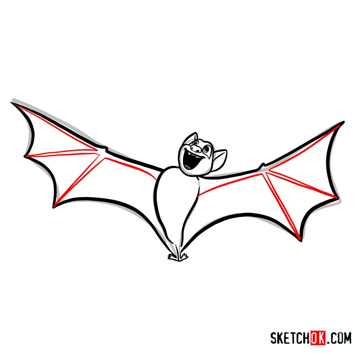 How to draw Bat Dracula | Hotel Transylvania - step 07