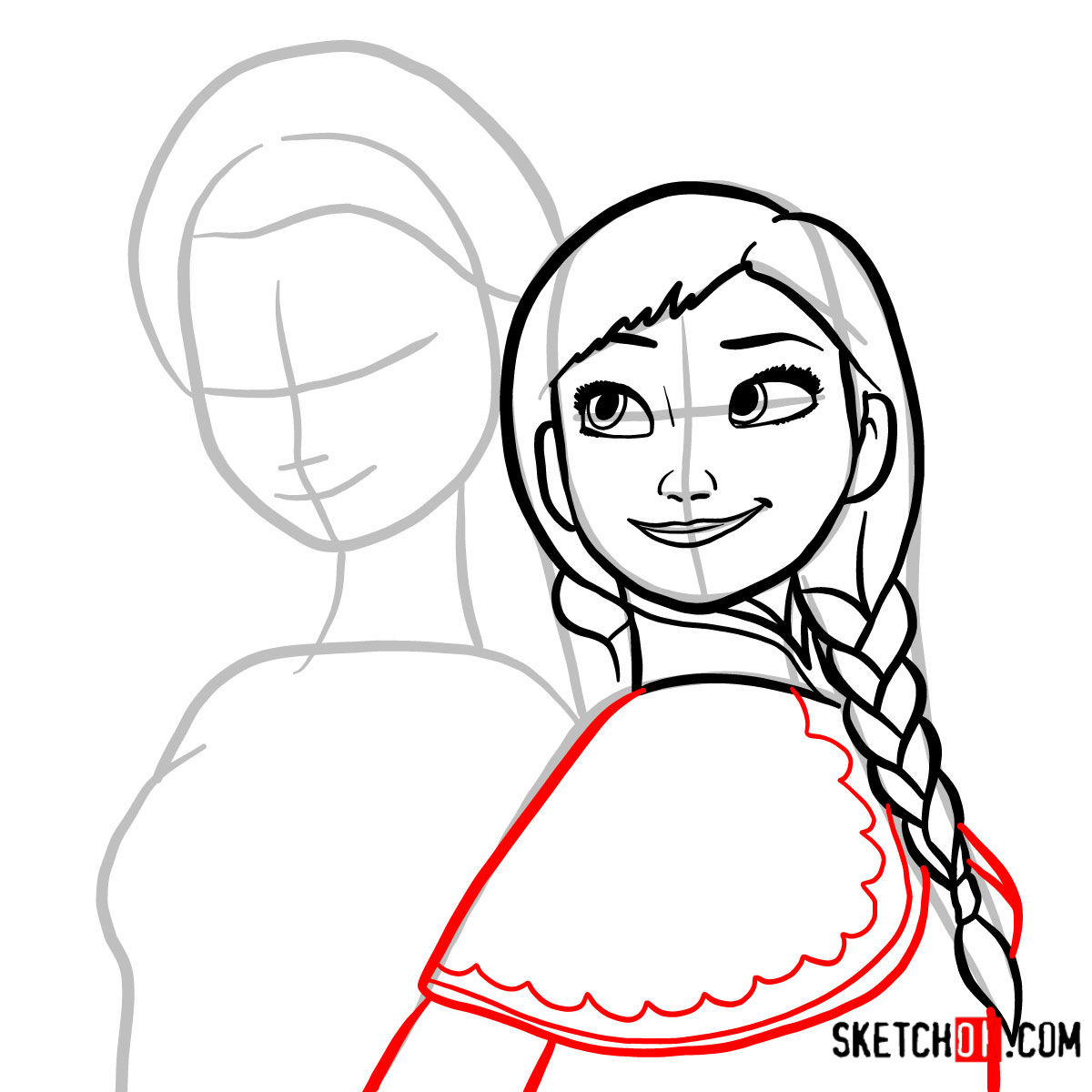 How to draw Elsa and Anna together | Frozen - step 07