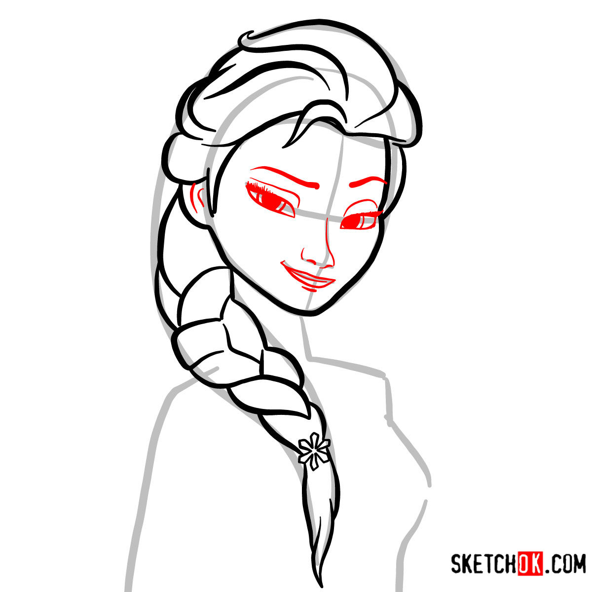 How to draw Princess Elsa's portrait | Frozen - step 05