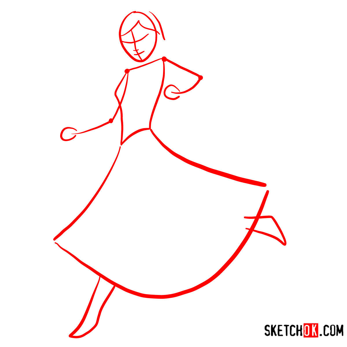 How to draw Princess Anna dancing | Frozen - step 01