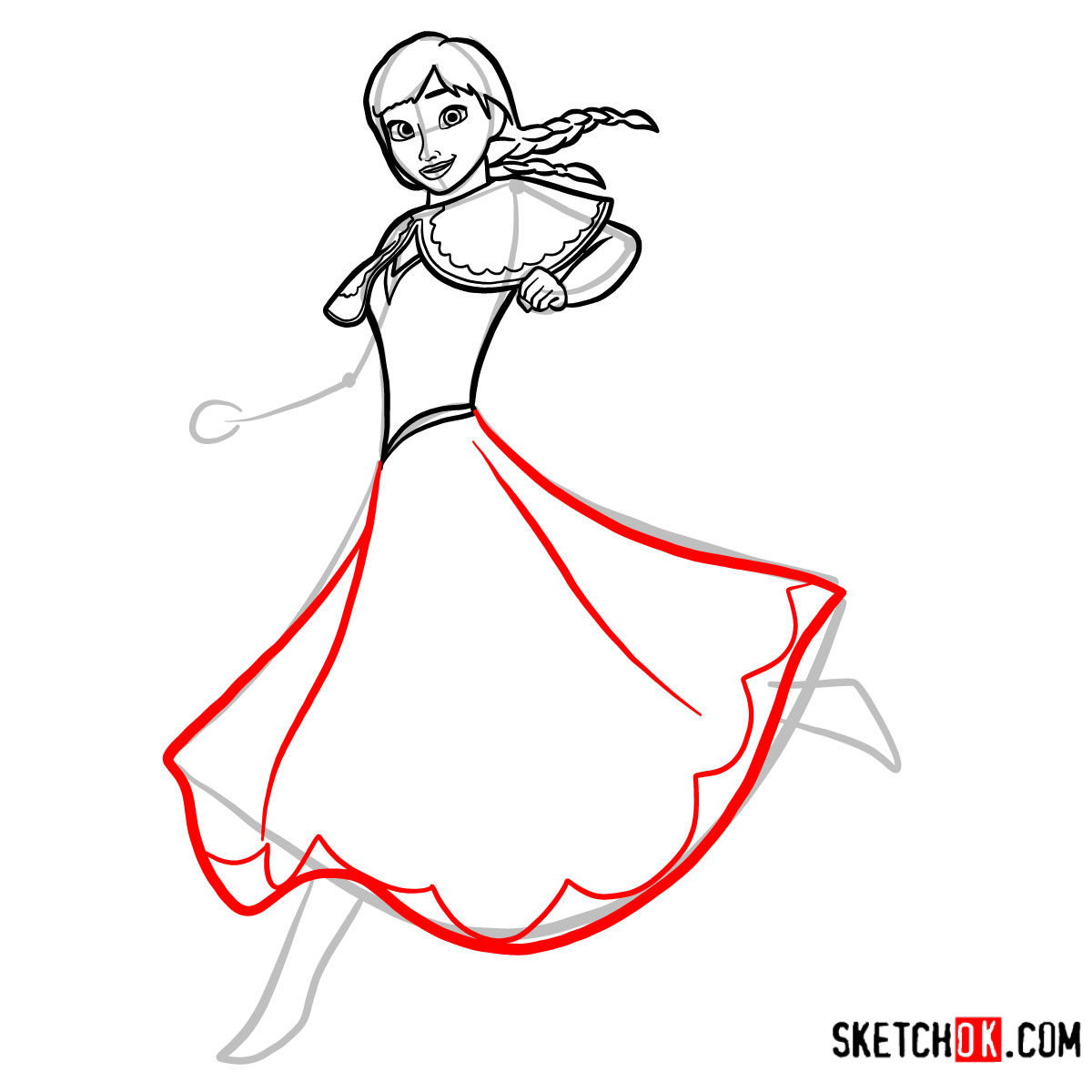 How to draw Princess Anna dancing | Frozen - step 09