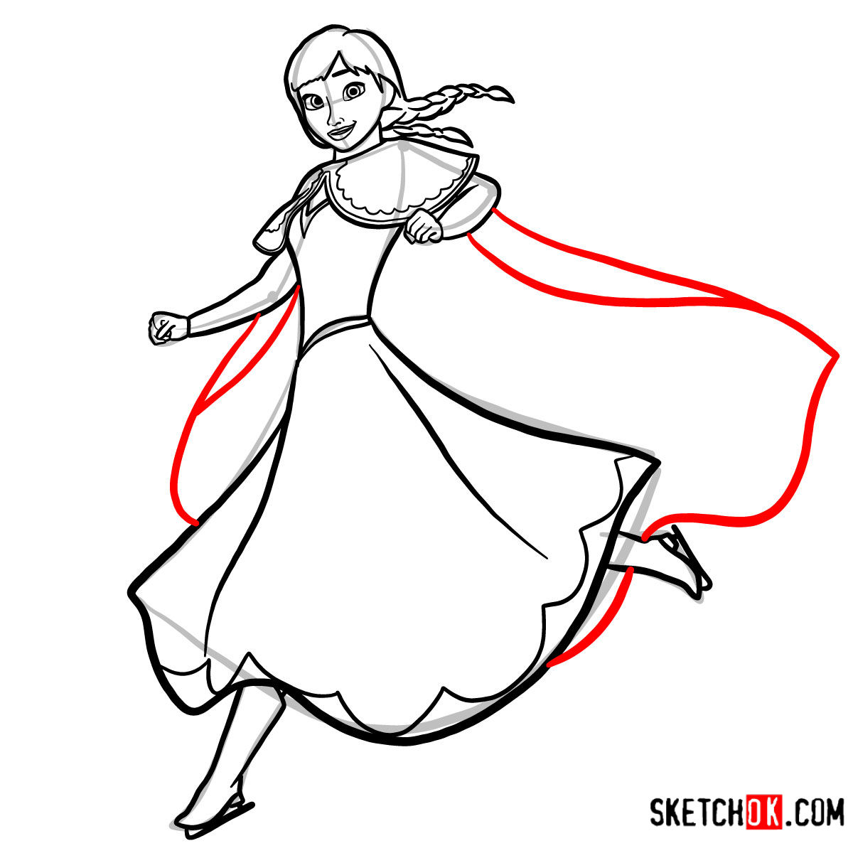 How to draw Princess Anna dancing | Frozen - step 12