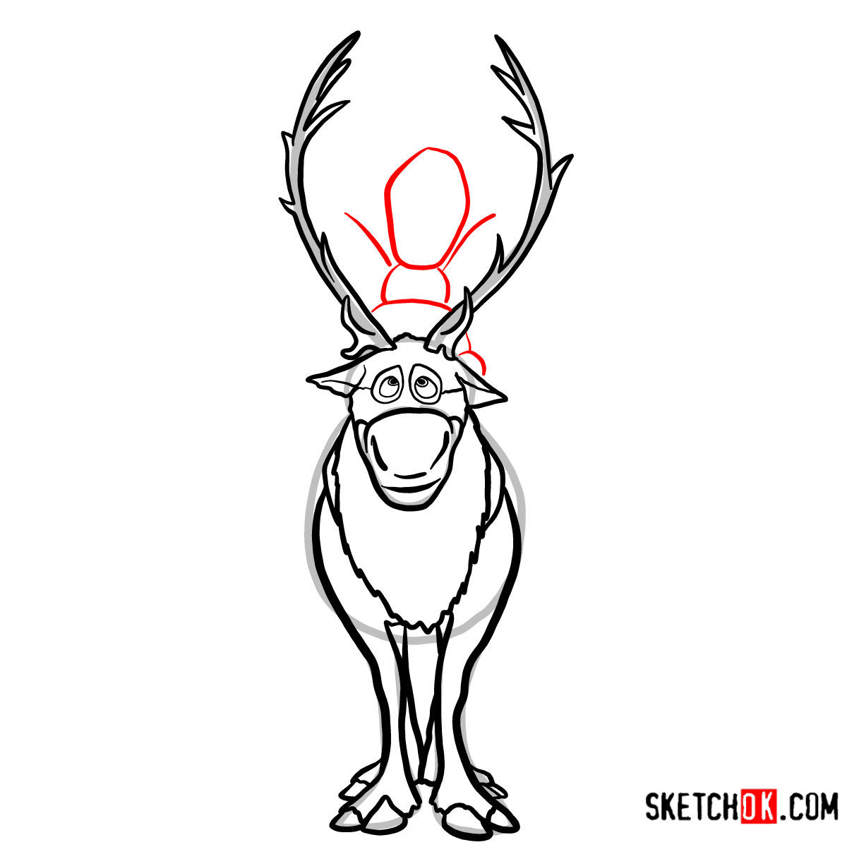 How to draw Olaf riding Sven | Frozen - step 09