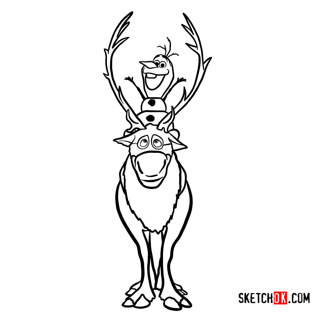 How to draw Olaf riding Sven | Frozen