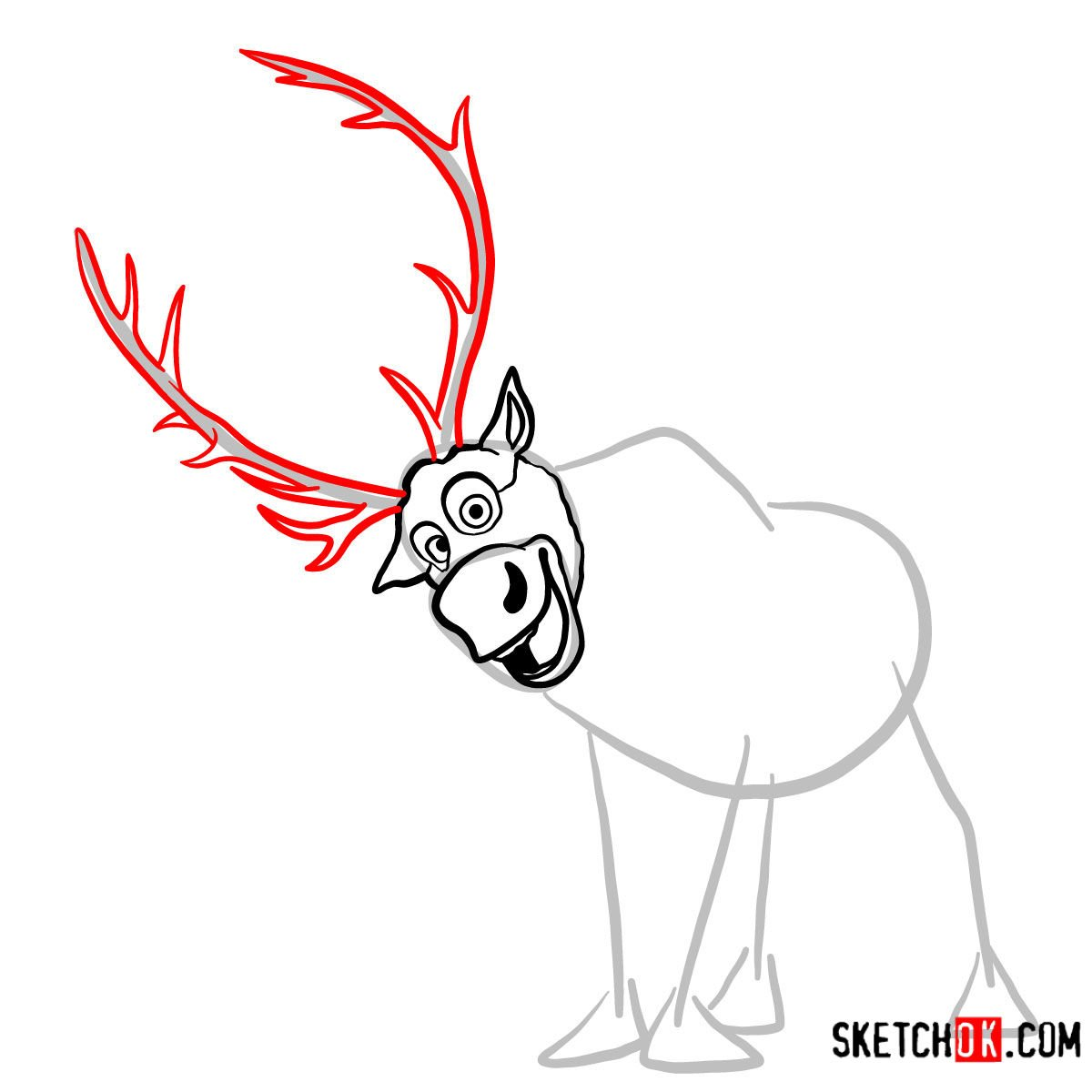 How to draw smiling Sven | Frozen - step 05