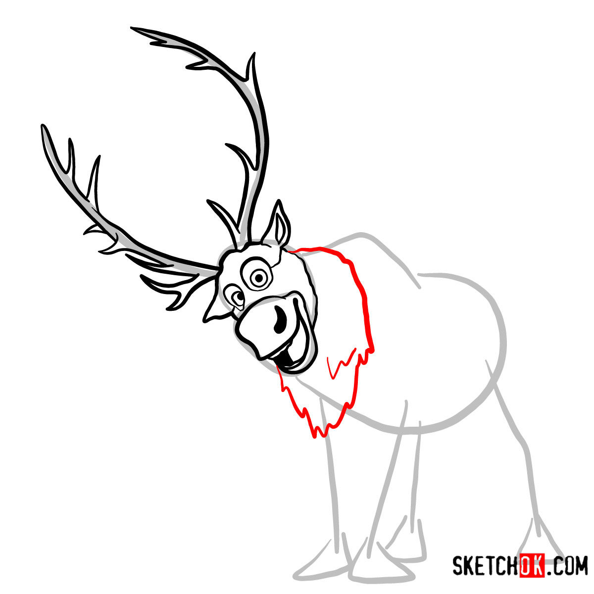 How to draw smiling Sven | Frozen -  step 06