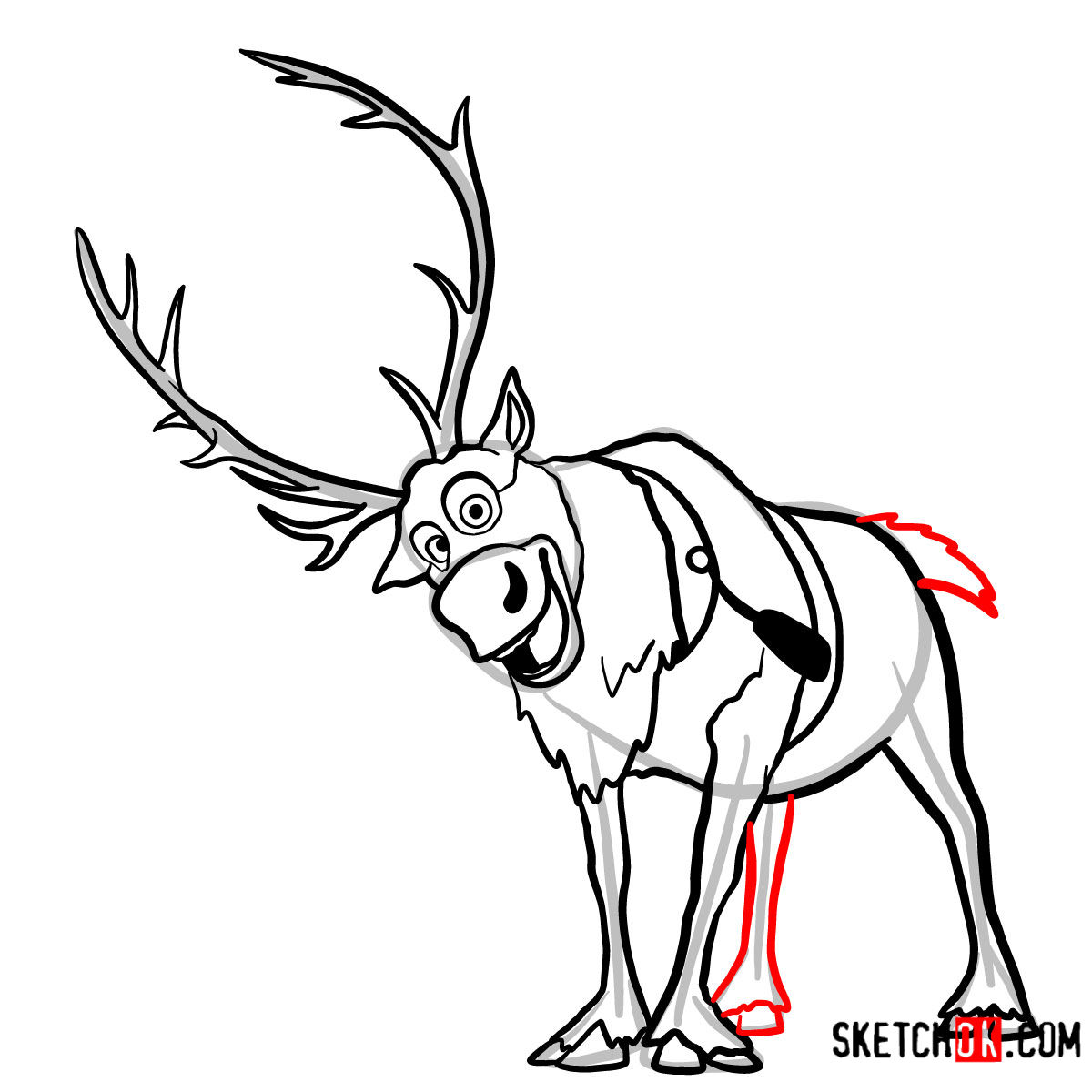 How to draw smiling Sven | Frozen - step 11