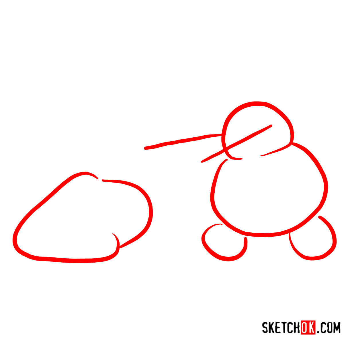 How to draw Olaf catching his head   Frozen - step 01