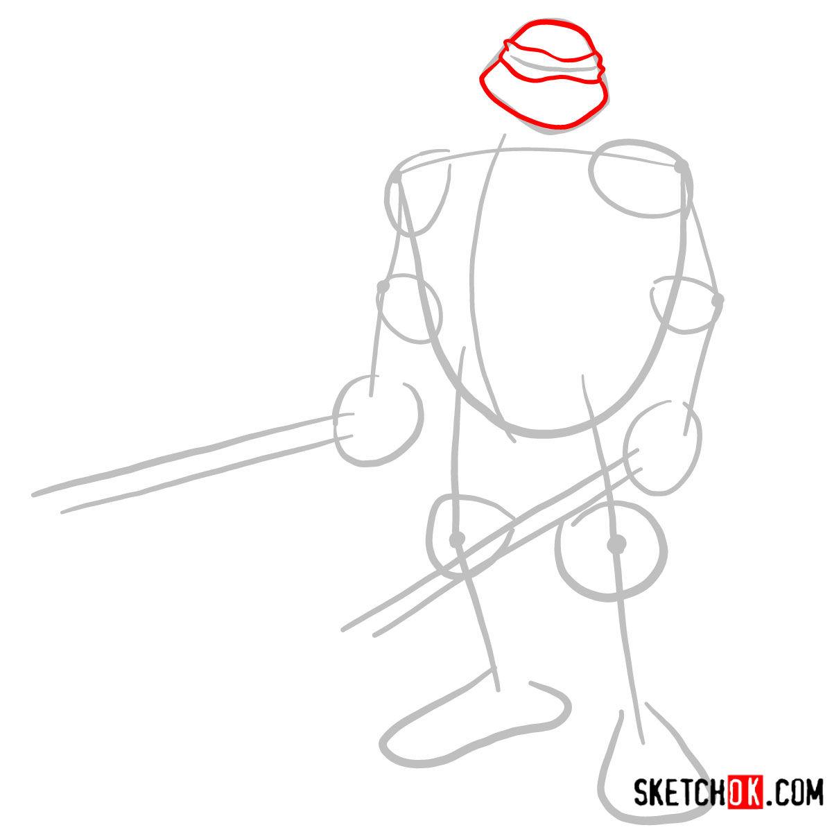 How to draw Leonardo with Ninjatos | TMNT - step 02