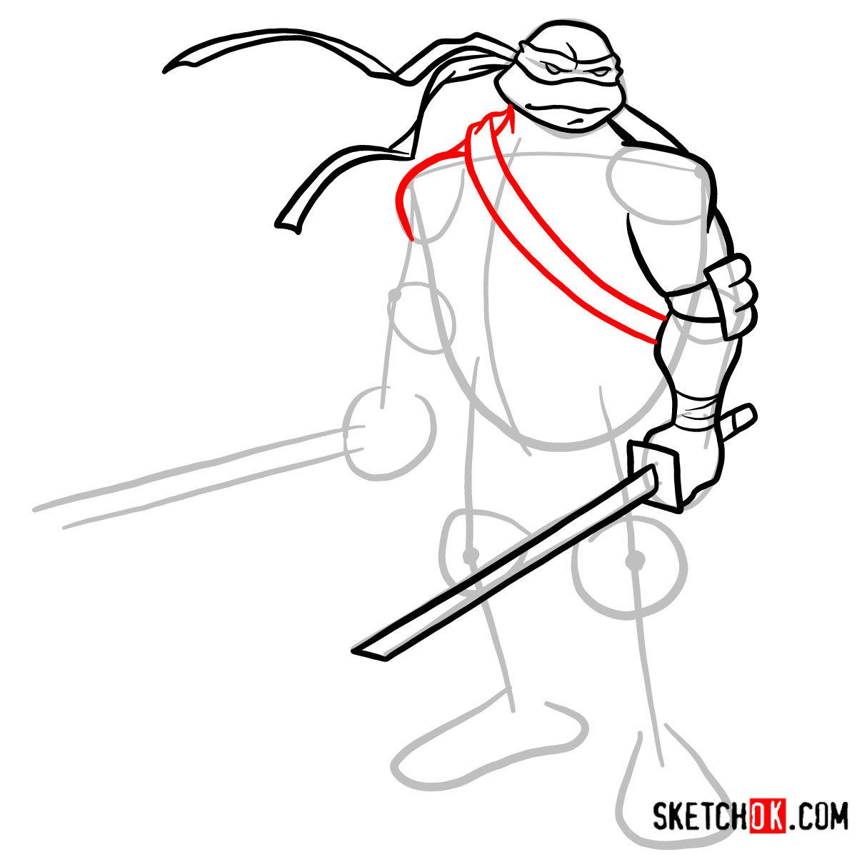 How to draw Leonardo with Ninjatos | TMNT -  step 06