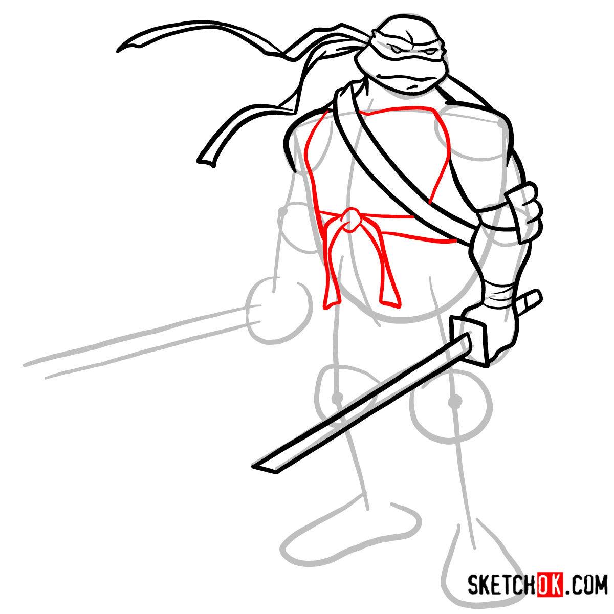 How to draw Leonardo with Ninjatos | TMNT - step 07