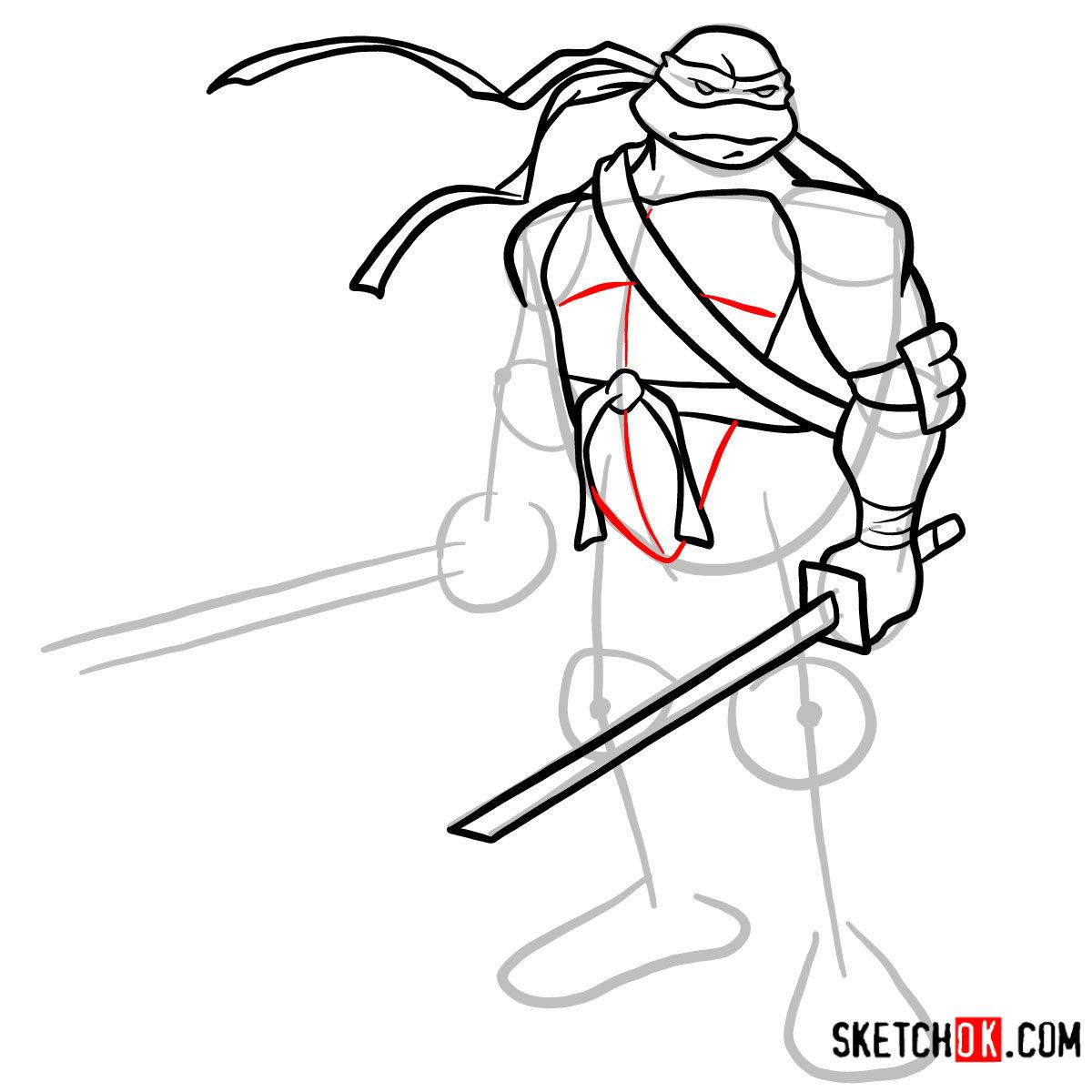 How to draw Leonardo with Ninjatos | TMNT - step 08