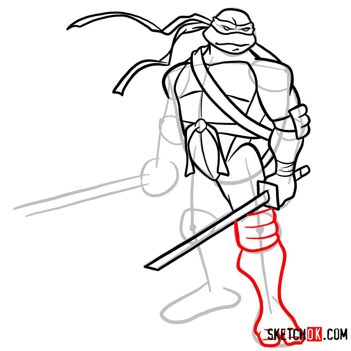 How to draw Leonardo with Ninjatos | TMNT - step 10