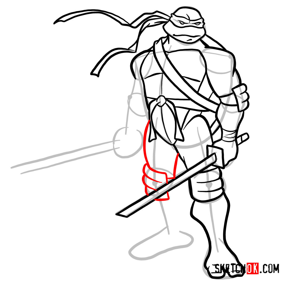 How to draw Leonardo with Ninjatos | TMNT - step 11