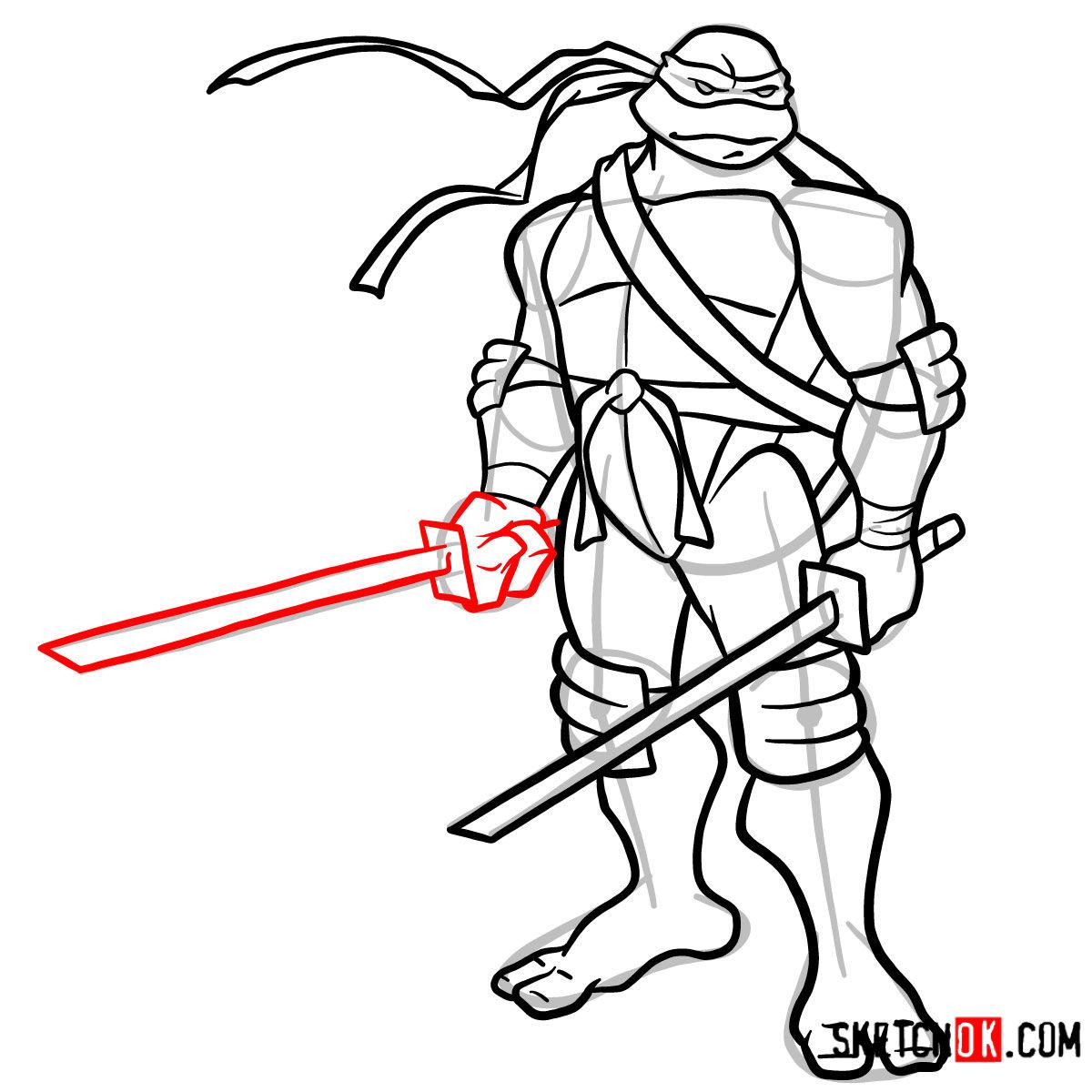 How to draw Leonardo with Ninjatos | TMNT - step 14