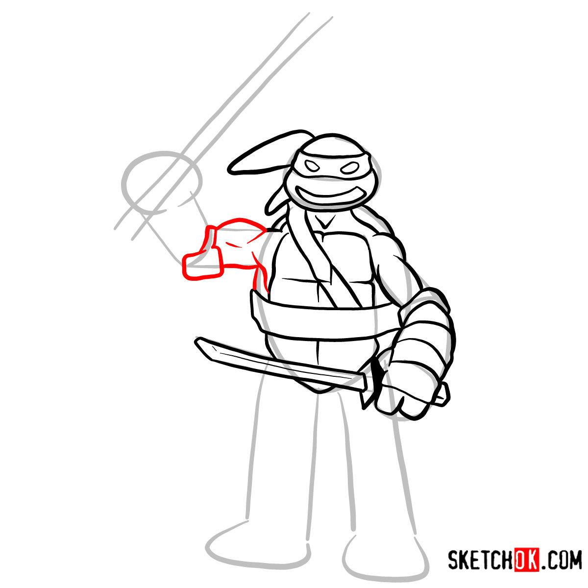 How to draw Leonardo | TMNT - step 08