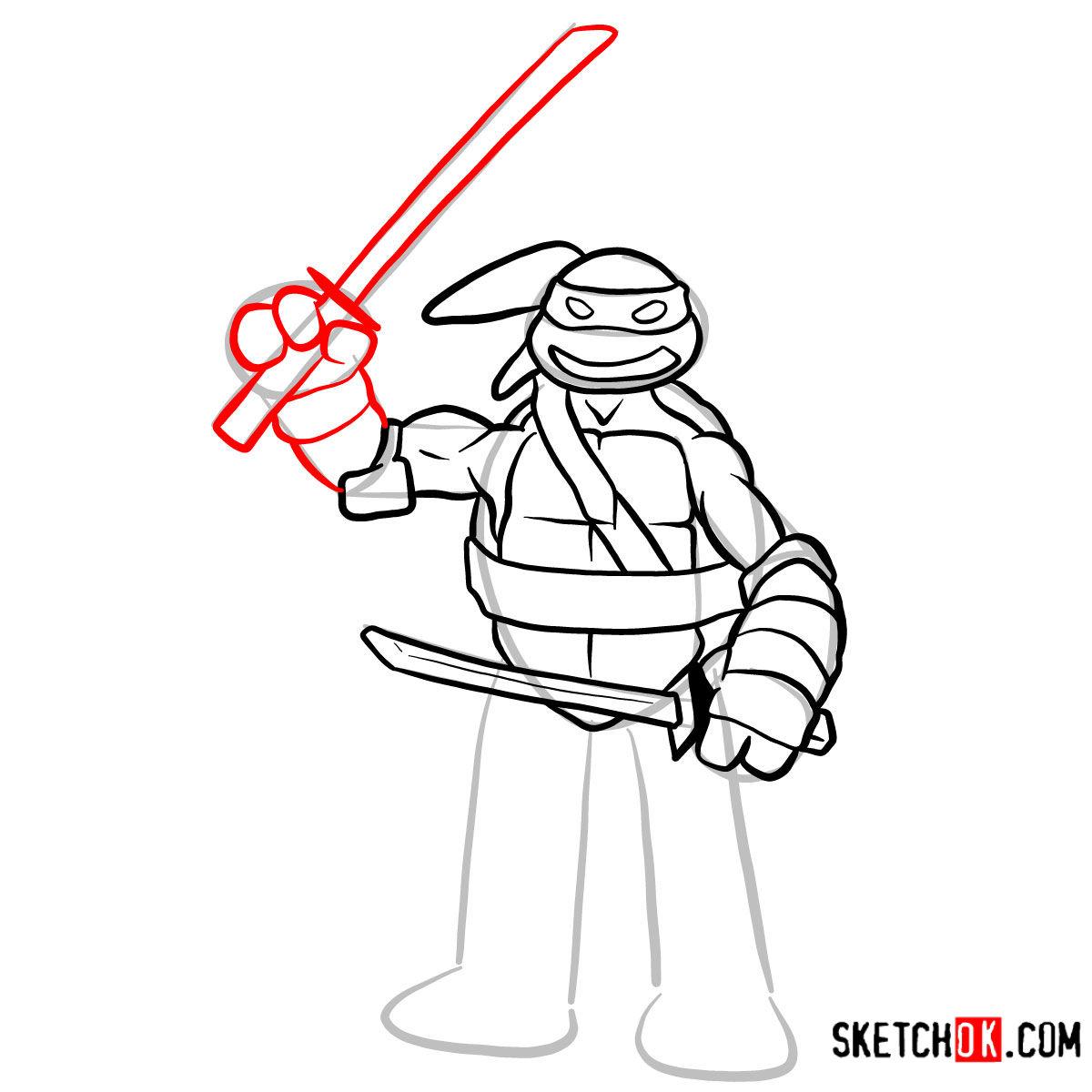 How to draw Leonardo | TMNT - step 09