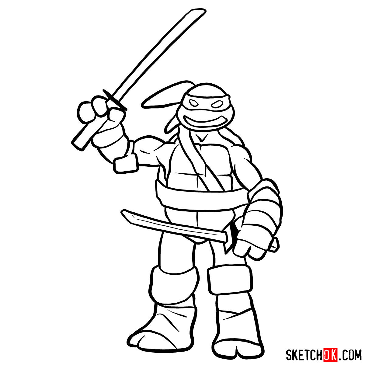 How to draw angry Leonardo toy | Ninja Turtles